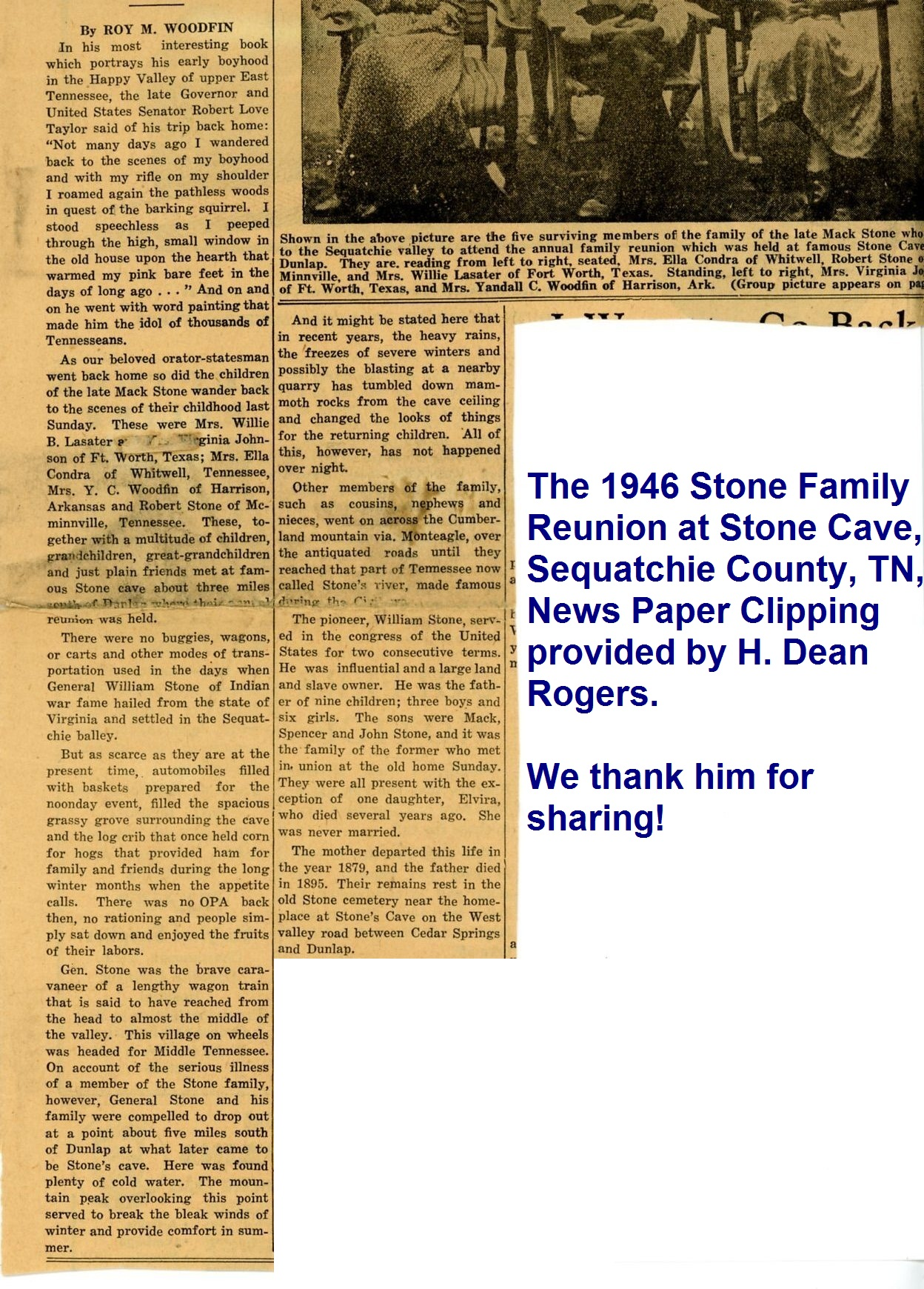Tennessee marion county sequatchie - The 1946 Stone Family Reunion At Stone Cave Sequatchie County Tn