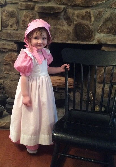 Little House, Pioneer Dress, Civil War, Riffled Pinafore, Historical Girl's Dress and Bonnet