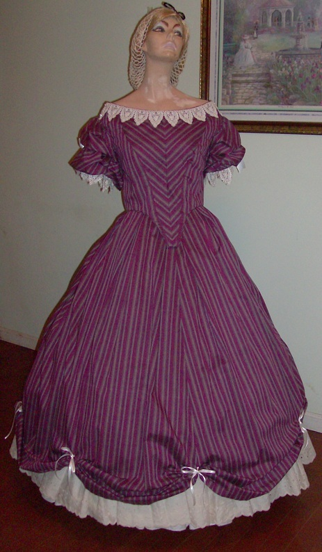 Mid 19th Century Era Ball Gown, 1860s Ball Gown, Victorian Ball Gown