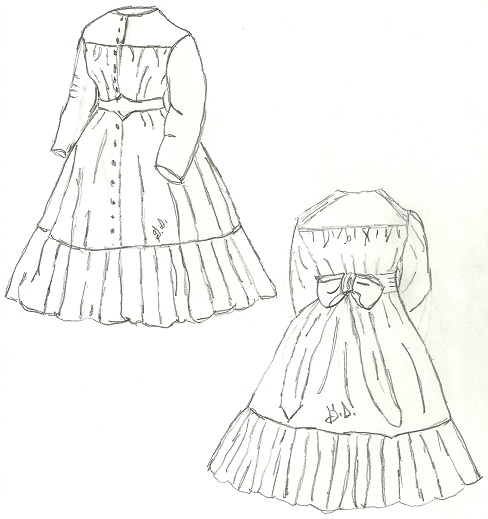 Frock For A Young Girl Of EightSizes in 7, in 8, & 10 ONLY, Directly from Peterson's Magazine January 1865